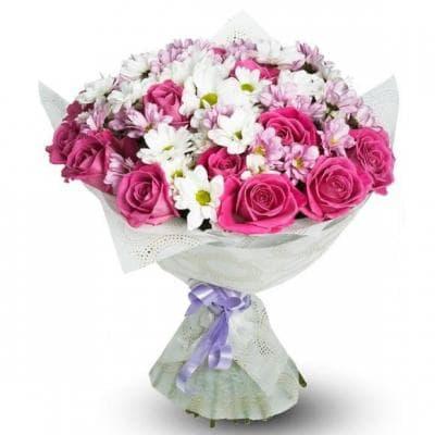 """букет из хризантем и роз """"Чуткой"""""""