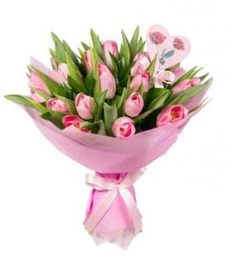 """Букет """"Любимой"""" 21 розовый тюльпан"""