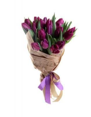 15 фиолетовых тюльпанов