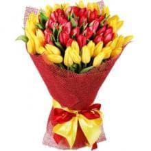 Букет из 75 желто-красных тюльпанов
