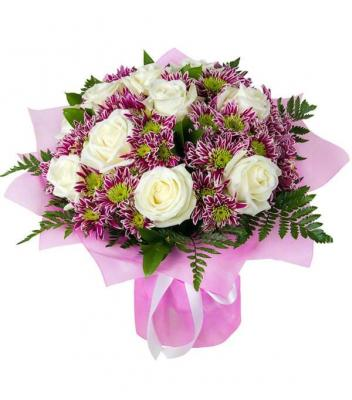 """букет роз и хризантем """"Загадка"""""""