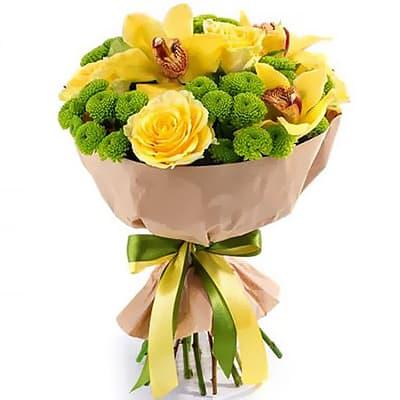 """Букет орхидей и желтых роз """"Лучик"""""""