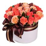 """25 роз в коробке """"Коралл"""""""