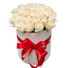 """25 белых роз в коробке """"Невеста"""""""