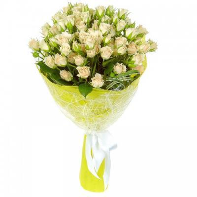 11 веток кремовой кустовой розы