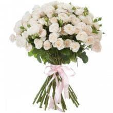 21 ветка белой розы ЛЕДИ БОМБАСТИК