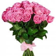 25 розовых роз с лентой