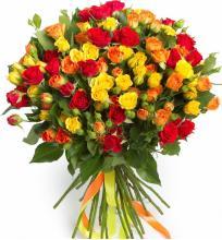 25 веток разноцветной кустовой розы
