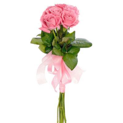 7 розовых роз с лентой