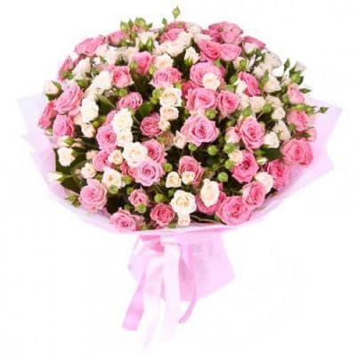 9 веток розовой и белой кустовой розы