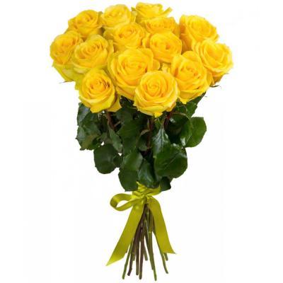 15 желтых роз с лентой