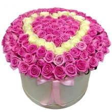 """101 роза в коробке """"Влюбленность"""""""